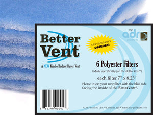 BetterVent Indoor Dryer Vent ORIGINAL Replacement Filters package of 6
