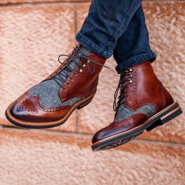 Henry Military Brogue Boots - Q by QS