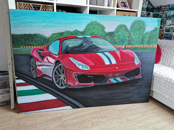 Ferrari Pista Original Acrylic Painting on Canvas