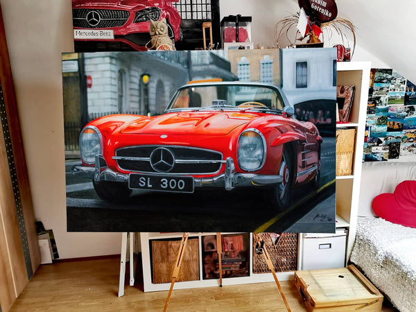 Mercedes 300 SL Roadster Original Oil Painting on Canvas
