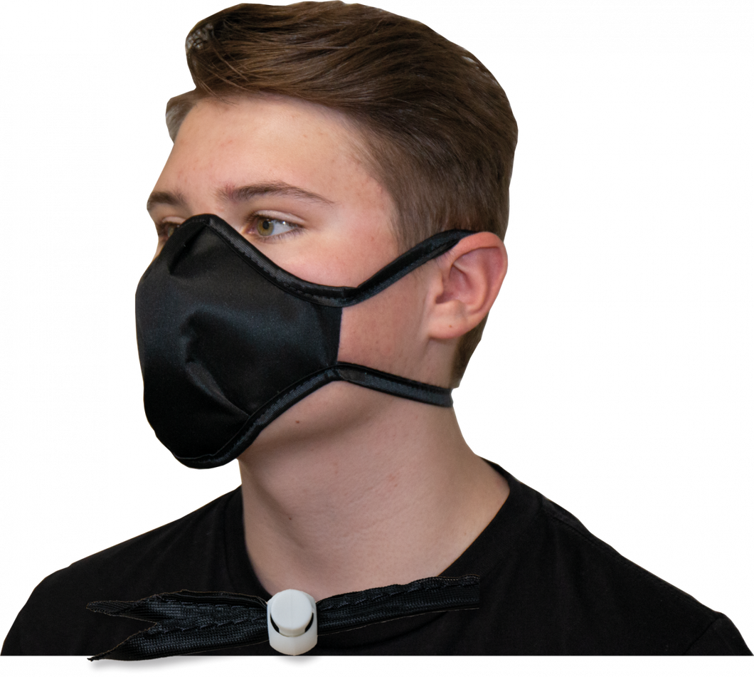 Black INTERCEPT CU22 Mask on Wearer