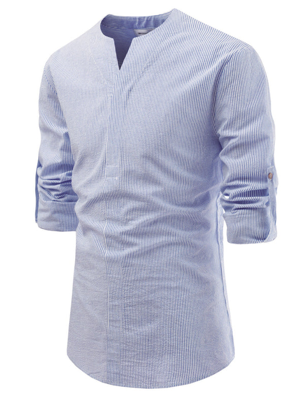 Ryo Pin Stripe Roll-up Shirt