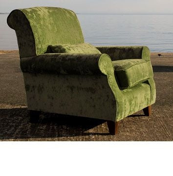 Sperrin Green Velvet Armchair Upholstered in Cactus Green Velvet
