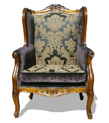 'Berger' Colonial Syle Armchair Upholstered in Medallion Noir Fabric