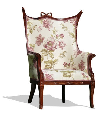 Bow' Armchair Upholstered in Belfleur Floral Panel Pink