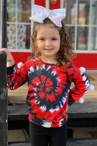 Red/Gray Tie Dye Pom Pom Shirt