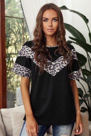 Black and Leopard Stripe Short Sleeve Top