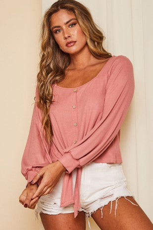Dusty Rose Long Sleeve Knit Tie at Waist Top