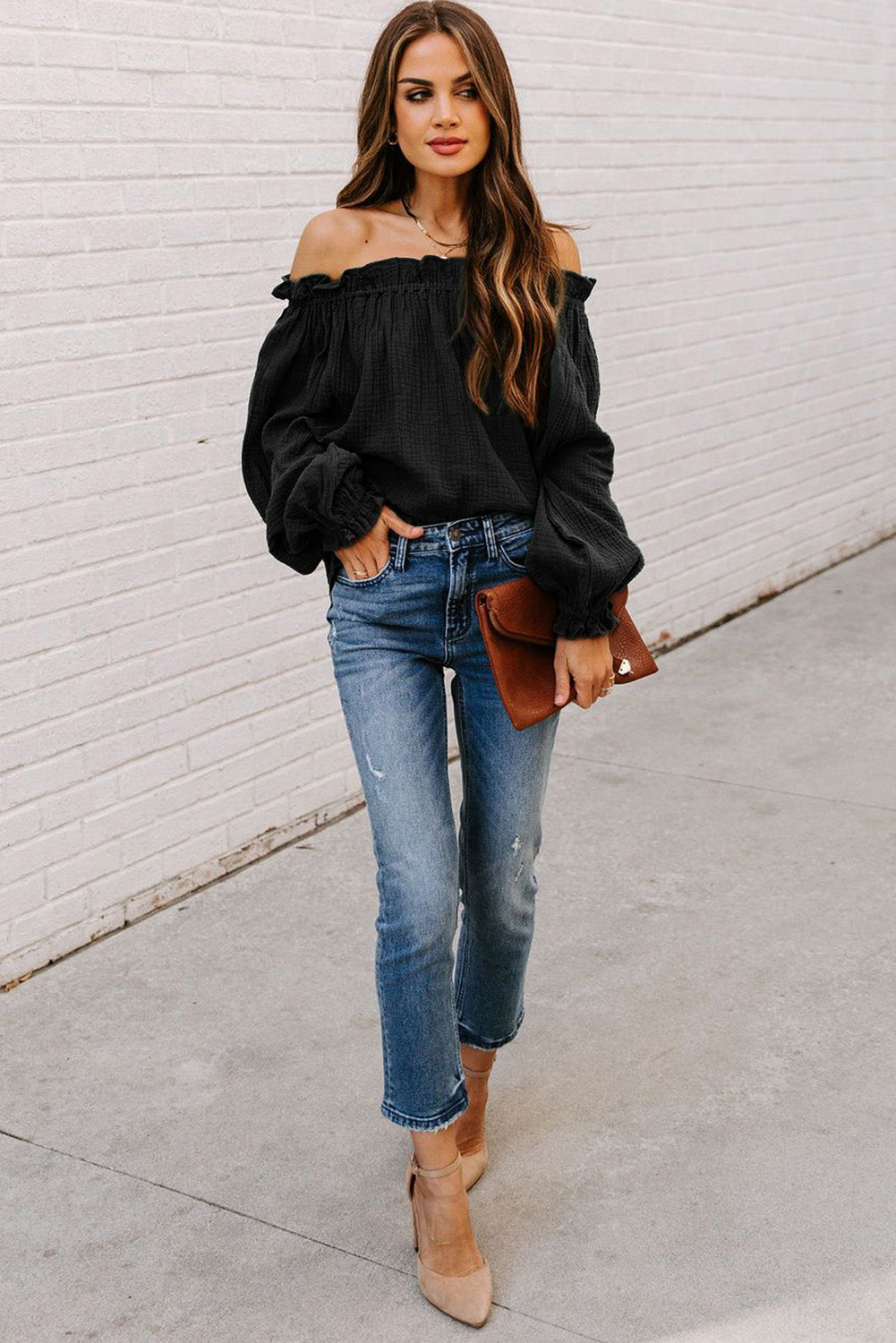"""The April"" Black Off the Shoulder Top"