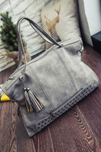 "Load image into Gallery viewer, ""The Rosie"" Gray Vintage Studded Handbag-Vegan Leather-Large Capacity"