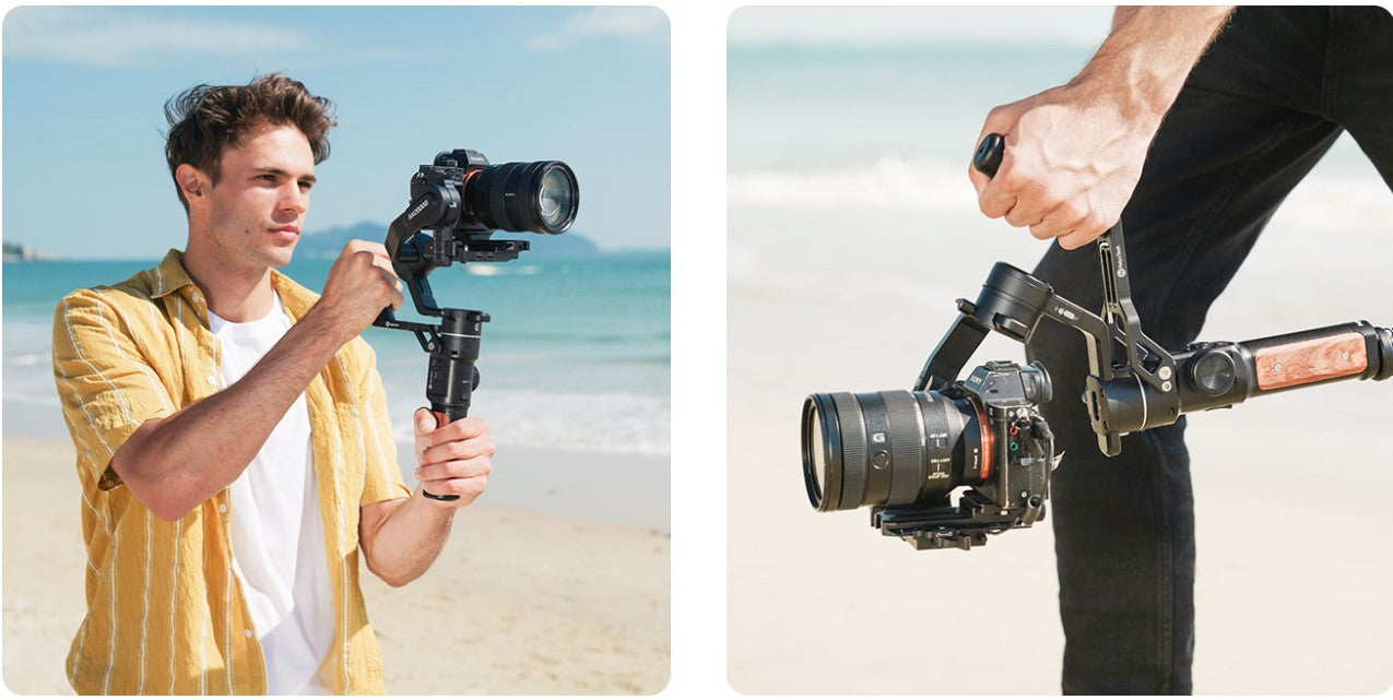 FeiyuTech-AK2000S-3-Axis-USB-Wi-Fi-Control-Handheld-Stabilized-Gimbal-Mirrorless-DSLR-Camera-listing-Shooting-at-Different-Angles-With-Detachable-Handles-present-dismantle-1