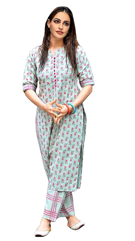 Women's cotton Straight Kurta With Checkered Trouser