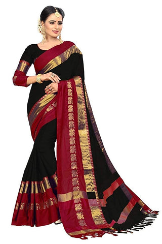 Designer Sarees Women's Banarasi Cotton Silk Saree With Blouse Piece.