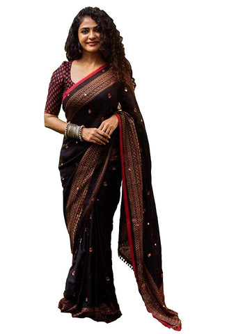 Women's Jute Silk with Blouse Piece Embroidery Sarees