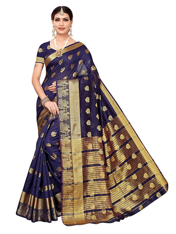 Women's chanderi silk blend Saree with Unstitched Running Blouse
