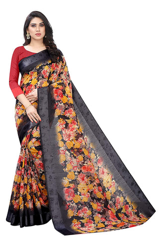 Women's Blend Linen Saree with Unstitched Blouse Piece