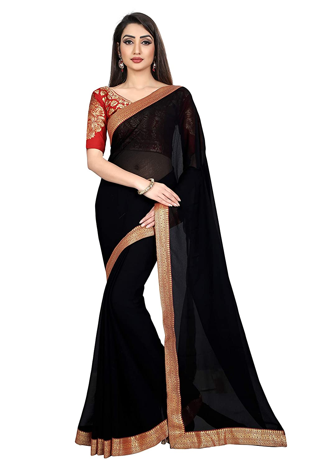 Sarees Chiffon Saree with Blouse Piece