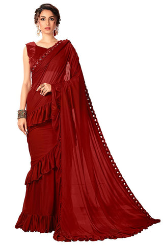 Women's Lycra Saree With Blouse Piece