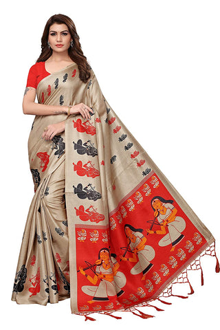 Designer Magenta Khadi Silk Printed Sarees For Women With Blouse Piece