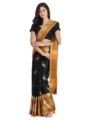 Women's Banarasi Cotton Silk Saree With Un-stitched Blouse