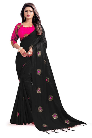 Women's Banarasi Silk Saree With Unstitched Blouse Piece