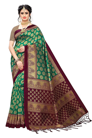 Designer Women's Rama Color Banarasi Silk Saree