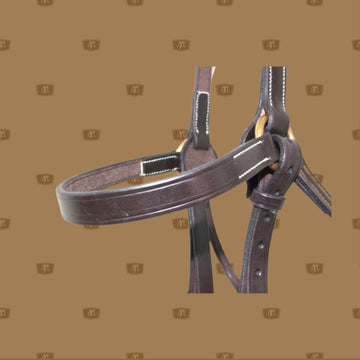 Leather bridle hand stitched with brass buckles