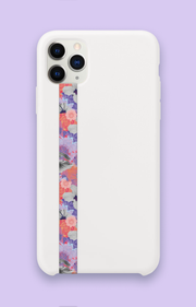 phone strap grip holder flowers floral pattern purple pink white
