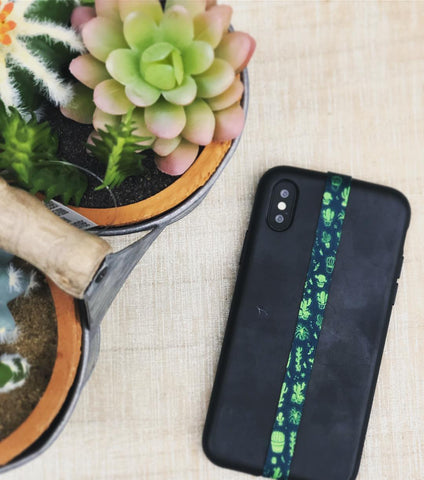 phone strap grip holder cactus green turquoise exotic