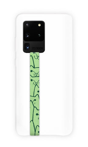 phone strap grip holder cat kitten green