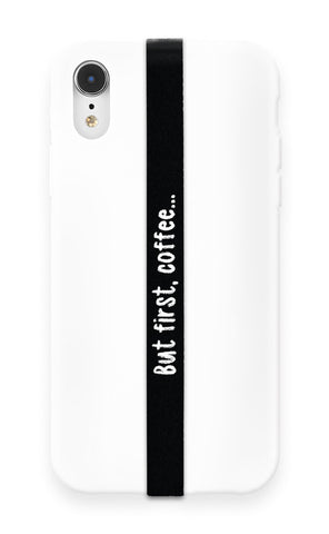 phone strap grip holder coffee cup caffeine black white morning