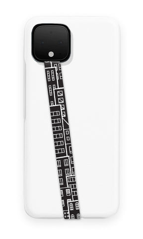 phone strap grip holder city urban landscape buildings skyscraper black white