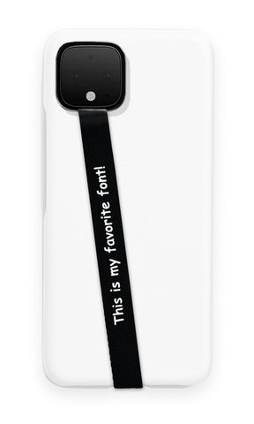 phone strap grip holder comic sans font black white