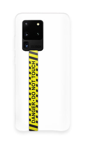 phone strap grip holder danger warning yellow black stripe