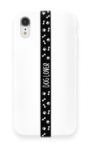 phone strap grip holder dog doggo canine bone paw black white