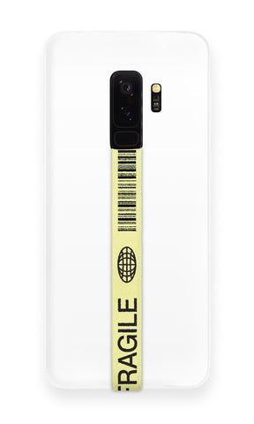 phone strap grip holder fragile sign warning yellow black barcode