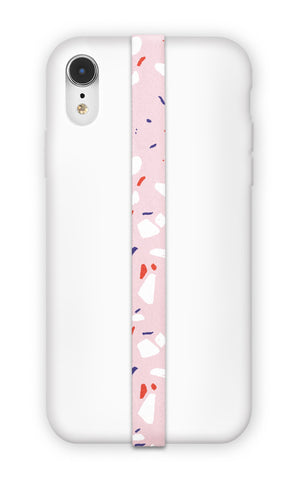 phone strap grip holder terrazzo pink abstract