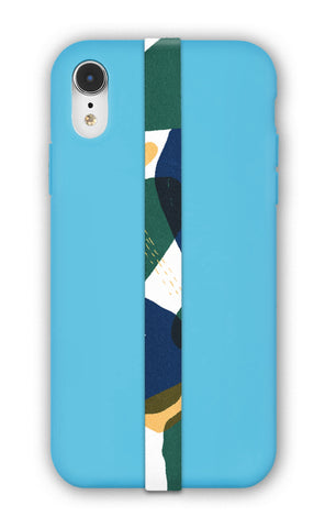 phone strap grip holder tablo blue abstract