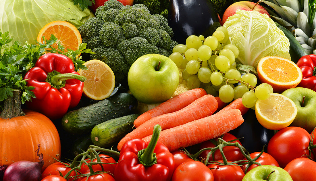 assortment of healthy fruits and vegetables with vitamins and antioxidants for health