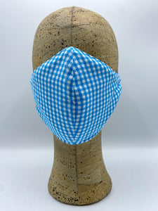 Gingham Collection in Pool cloth face mask