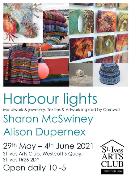 Poster featuring work by Sharon McSwiney metalwork & Alison Dupernex textiles