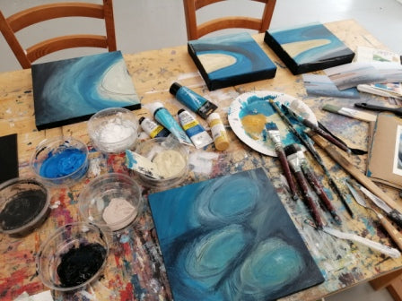 Image of paintings in progress by Sharon McSwiney in St Ives