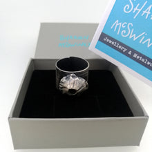 Load image into Gallery viewer, Barnacle adjustable ring in oxidised silver handmade by Sharon McSwiney in a giftbox
