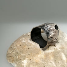 Load image into Gallery viewer, Barnacle adjustable ring in oxidised silver handmade by Sharon McSwiney
