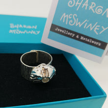 Load image into Gallery viewer, Handmade sterling silver barnacle ring by Sharon McSwiney, St Ives in gift box