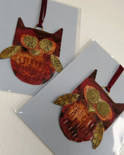 Load image into Gallery viewer, copper owl decorations handmade by Sharon McSwiney