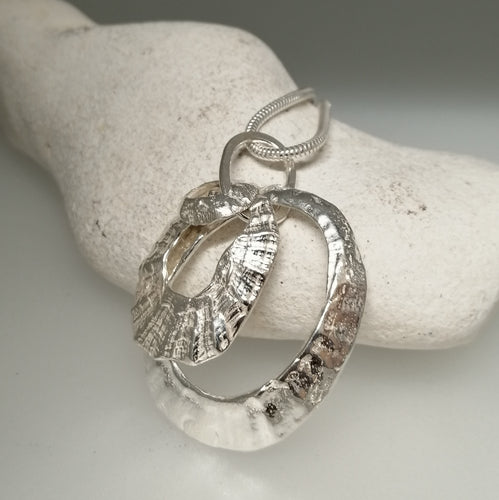 triple silver limpet necklace handmade by Sharon McSwiney St Ives