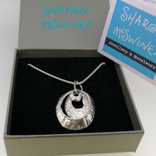 Load image into Gallery viewer, triple silver limpet necklace handmade by Sharon McSwiney St Ives in a gift box