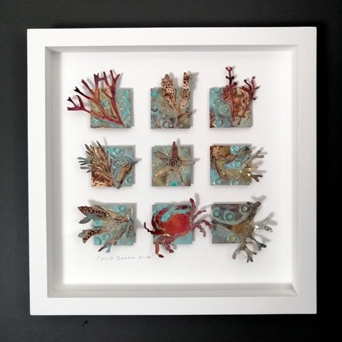 Metalwork picture with seaweed & sea creatures in copper & brass handmade by Sharon McSwiney