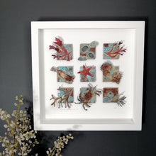 Load image into Gallery viewer, Metalwork picture with seaweed & sea creatures in copper & brass handmade by Sharon McSwiney